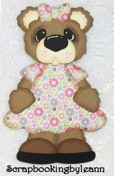 Girl Bear Paper Piecing Flower Dress by Le... | Paper Crafts Ideas
