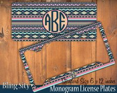 aqua teal monogram license plate frame holder metal by blingsity love it - Monogram License Plate Frame