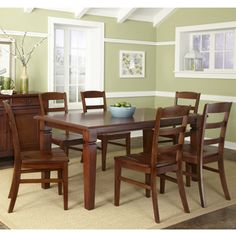 @Overstock - The Aspen Collection 7-piece Dining Set - You'll be ready to entertain guests with this classy seven-piece dining set. The set includes a table and six chairs made of beautiful mahogany with a rustic cherry finish. The table has a removable leaf to help you save space in small rooms.  http://www.overstock.com/Home-Garden/The-Aspen-Collection-7-piece-Dining-Set/7194329/product.html?CID=214117 $995.84