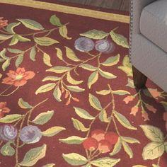 Helena Hand-Hooked Wool Burgundy Area Rug