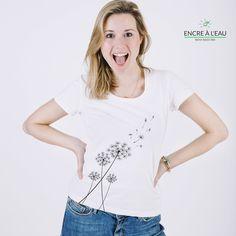 Pissenlit sur t shirt pour femme impression sérigraphie encre base à l eau éco