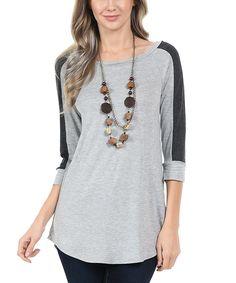 Gray & Charcoal Raglan Tunic