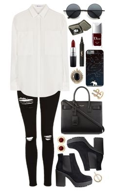 Untitled #454 by clary94 on Polyvore featuring T By Alexander Wang, Topshop, H&M, Yves Saint Laurent, House of Harlow 1960, Madewell, Retrò, MAC Cosmetics and Christian Dior