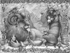 Adonna Khare: Animales de carbón y lápiz