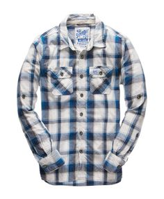 Mens - Lumberjack Twill Shirt in Super Ombre Check Navy | Superdry