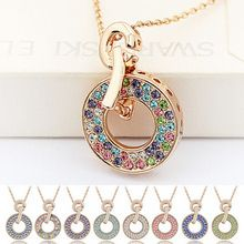 Fashion Brand Necklace Vintage Style Rhinestone Austrian Crystal Necklace Pendant For Women Rose Gold Plated Charm Jewelry 2881(China (Mainland))