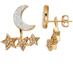 Artistique Crystal 18k Gold Over Silver Star & Moon Front-Back Drop... ($80) ❤ liked on Polyvore featuring jewelry, earrings, white, gold crystal earrings, drop earrings, 18k yellow gold earrings, crystal earrings and white earrings