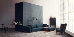 Element module sofa by Glismand & Rüdiger Vigga recliner and Holly sideboard by Charlotte Høncke