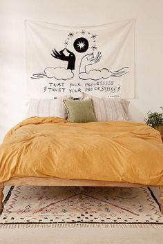 Boho Bedroom Discover Kris Chau X UO Trust Your Process Tapestry Dream Rooms, Dream Bedroom, Home Bedroom, Bedroom Decor, Fancy Bedroom, Master Bedroom, My New Room, My Room, Dorm Room