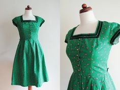 Vintage Dirndl Dress  Green German Pesant by PaperdollVintageShop