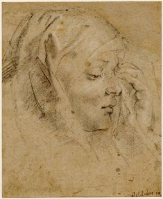 Study for one of the weeping women; covered head, almost in profile to r, her l hand raised to her face. c.1615-20 Charcoal, heightened with white, on light buff paper