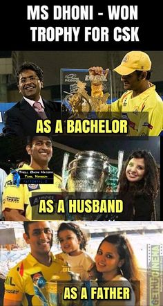 CSK Memes CSK Won 2018 father husband msd cup 3 time cup in single picture IPL 2018 CSK Memes Collection India Cricket Team, Cricket Sport, Dhoni Records, Dhoni Quotes, Ms Dhoni Wallpapers, Cricket Quotes, Ms Dhoni Photos, Cricket Wallpapers, Psychology Fun Facts