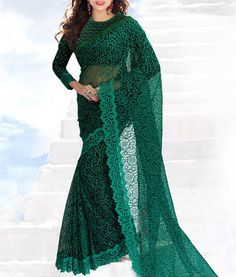 Green Hand Embroidered Soft #NetSaree by #ClubArtDecor with flat 70% off
