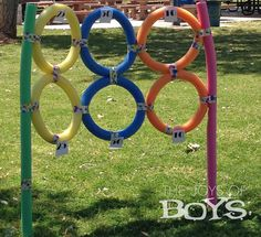 Target made from Pool Noodles from TheJoysofBoys.com. Perfect for a Sports birthday party. #poolnoodles