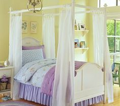Canopy Panel Sheers #Pottery Barn Kids I want this bed!!!!!!!