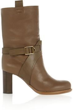 ChloéBuckled textured-leather boots