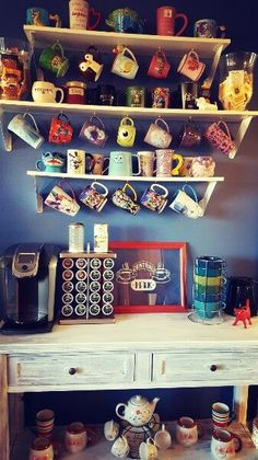 Welcome to Central Perk! Here's a bright and colorful coffee bar with a Disney mug collection for fun.