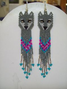 Native American Beaded Grey and Turquoise Wolf Earrings