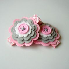 Felt Bows...so cute! Gray and pink!!! Love it