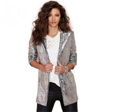 Silver Sequined Cardigan Jacket