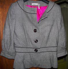 Black & white 3-quarter sleeve jacket with hot pink lining