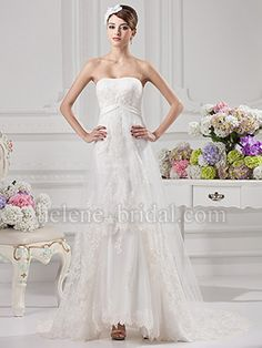 A-Line Strapless Sweetheart Natural Waist Satin Tulle Wedding Dress - US$ 209.99 - Style WD8354 - Helene Bridal