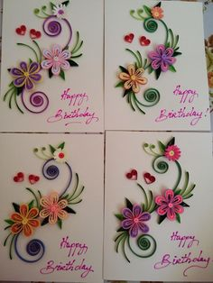 handmade birthday card ideas by paper quilling paper Quilling Birthday Cards, Paper Quilling Cards, Paper Quilling Patterns, Quilled Paper Art, Paper Beads, Quilling Images, Neli Quilling, Quilling Craft, Quilling Tutorial
