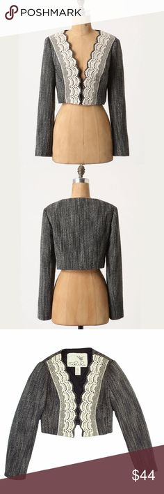 """Anthropologie Gray Wool Tweed Lace Cropped Jacket Excellent condition! This gray wool tweed cropped jacket from Tabitha features Ivory lace trim. An open front style, cropped length and is fully lined. Made of a wool blend. Measures: bust: 35"""", total length: 14.5"""", sleeves: 23.5"""" Anthropologie Jackets & Coats Blazers"""