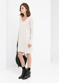 ✔️ Vestido mangas canelado - Vestidos de Mulher | MANGO
