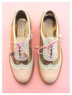 pink and gold brogues.