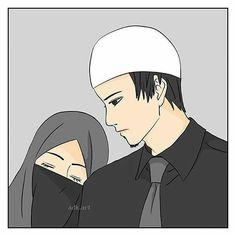 Love Cartoon Couple, Anime Love Couple, Couple Art, Best Facebook Profile Picture, Sad Girl Drawing, Comedy Pictures, Couple Sketch, Cute Muslim Couples, Islamic Cartoon