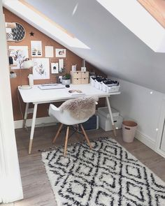 Loft conversion ideas study A great loft conversion idea in a small space is to create a small space for a stylish study, like Small Loft Spaces, Small Loft Apartments, Attic Bedroom Small, Attic Bedroom Designs, Attic Rooms, Attic Spaces, Room Ideas Bedroom, Bedroom Decor, Attic Office Space