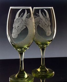 Dragon wine glass set of two fantasy by GlassGoddessNgraving