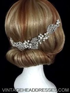 Vintage 1920s art deco floral bridal hair vine, wedding hair accessory - bridal accessories. £235.00, via Etsy.