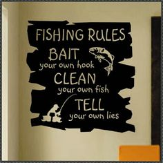Sports Wall Decal Funny Fishing Rules, Vinyl Wall Lettering for Game Room, Humorous Man Cave Wall Decoration, Retirement Gift for Dad – Famous Last Words Fishing Bait, Gone Fishing, Fishing Tips, Bass Fishing, Alaska Fishing, Fishing Stuff, Fishing Reels, Fishing Tackle, Saltwater Fishing