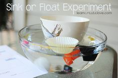 Sink or Float activity with tally sheet. This can be a group activity or individual. It can promote social skills and teach the children about the weight of different objects.