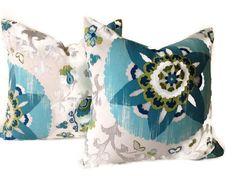 Suzani Pillows Throw Pillows Decorative Throw  Pillow by DEKOWE