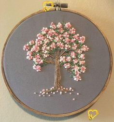 Items similar to Embroidery hoop nursery decor kids decor cherry blossoms pink blossoms preety wall art home decor dogwood blossoms on Etsy<br> Hand Embroidery Flowers, Hand Embroidery Stitches, Silk Ribbon Embroidery, Hand Embroidery Designs, Cross Stitch Embroidery, Machine Embroidery, Embroidery Ideas, Simple Embroidery, Embroidery With Beads