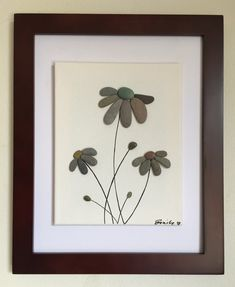 Pebble art flowers floating canvas framed art beach decor home decor unique gift Stone Crafts, Rock Crafts, Floating Canvas Frame, Art Plage, Art Encadrée, Art Rupestre, Art Pierre, Pebble Pictures, Flower Art