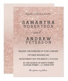 A modern, original and simple faux rose gold glitter ombre wedding invitation on a fully customizable blush pink color background. Perfect for chic, elegant theme wedding #bridalpartyinvitations #invitationwording #weddinginvitationinspiration #weddingdonts #weddinglife #coolwedding #dreamwedding #weddinginvition