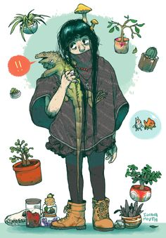 JUST BARELY MAKIN THE DEADLINE FOR WITCHSONA WEEK   me as a witch isnt too terribly different from myself right now, except i dont kill plants as much and the goldfish suddenly have a lot more space. also due to an excess of stray magic, wasabi can now speak and mushrooms inexplicably manifest in my hair. theres nothing i can do about it