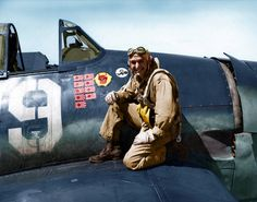 flytofight:  Colorized photograph of Hellcat pilot Alexander Vraciu LT. Alexander Vraciu was one of the U.S. Navy's top scoring aces of WW2, with 19 kills.  During the Marianas turkey shoot, LT. Vraciu shot down 6 enemy aircraft during one flight.   Over the Philippines, LT Vraciu bailed out when he was shot down by anti aircraft fire.  On the ground, LT. Vraciu was rescued by Filipino resistance fighters, who put him in charge of a company sized group of men to launch raids against…