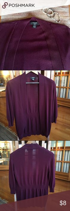 Plum Colored Cardigan This pretty purple cardigan is simple and sweet. Worn with love and in great condition. No holes or stains. Perfect for wearing at the office or out and about. Sleeves are 3/4 length. Open front. Size M. Verve ami Sweaters Cardigans
