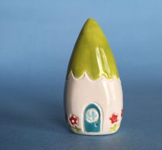 flower Gnome Home Collectible Ceramic miniature by thelittlereddoor on Etsy