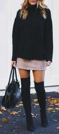 #fall #outfits women's black turtle-neck sweater and gray skirt and pair of rainboots
