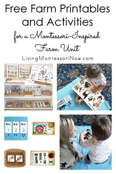 These free farm printables and Montessori-inspired farm activities are designed for preschoolers through first grade. Perfect for home or classroom - Living Montessori Now Farm Activities, Primary Activities, Language Activities, Preschool Activities, English Activities, Montessori Elementary, Montessori Preschool, Toddler Preschool, Preschool Kindergarten