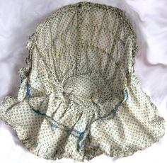 1850s Semi Sheer Blue Green White Cotton Print Drawn Bonnet Hand Sewn | eBay; inside view of drawn print.