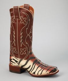 Take a look at this Beige & Black Tiger Ray Safari Cowboy Boot - Women by Nocona Boots on today! Cowgirl Bling, Cowgirl Style, Cowboy Boots Women, Cowgirl Boots, Nocona Boots, Safari, Black Tigers, Tiger Stripes, Cool Boots