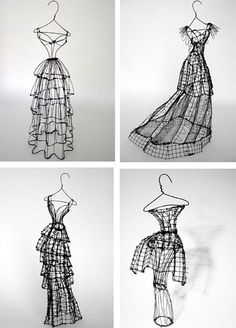 Dramatic Fashion sketches in wire. Each one-of-a-kind sculpture has its own name inspired by the distinct personality of the dress - Miss Leigh Sculptures Sur Fil, Sculpture Art, Wire Sculptures, Abstract Sculpture, Bronze Sculpture, 3d Zeichenstift, Stylo 3d, Art Fil, Motif Floral