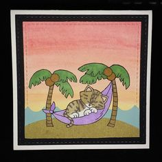Jennifer Nicole Designs: Newton's Nook Designs Inky Paws Challenge  #34 - Summer    Aloha Newton stamp set by Newton's Nook Designs #newtonsnook